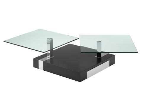 Swivel coffee table with drawers, square glass table.