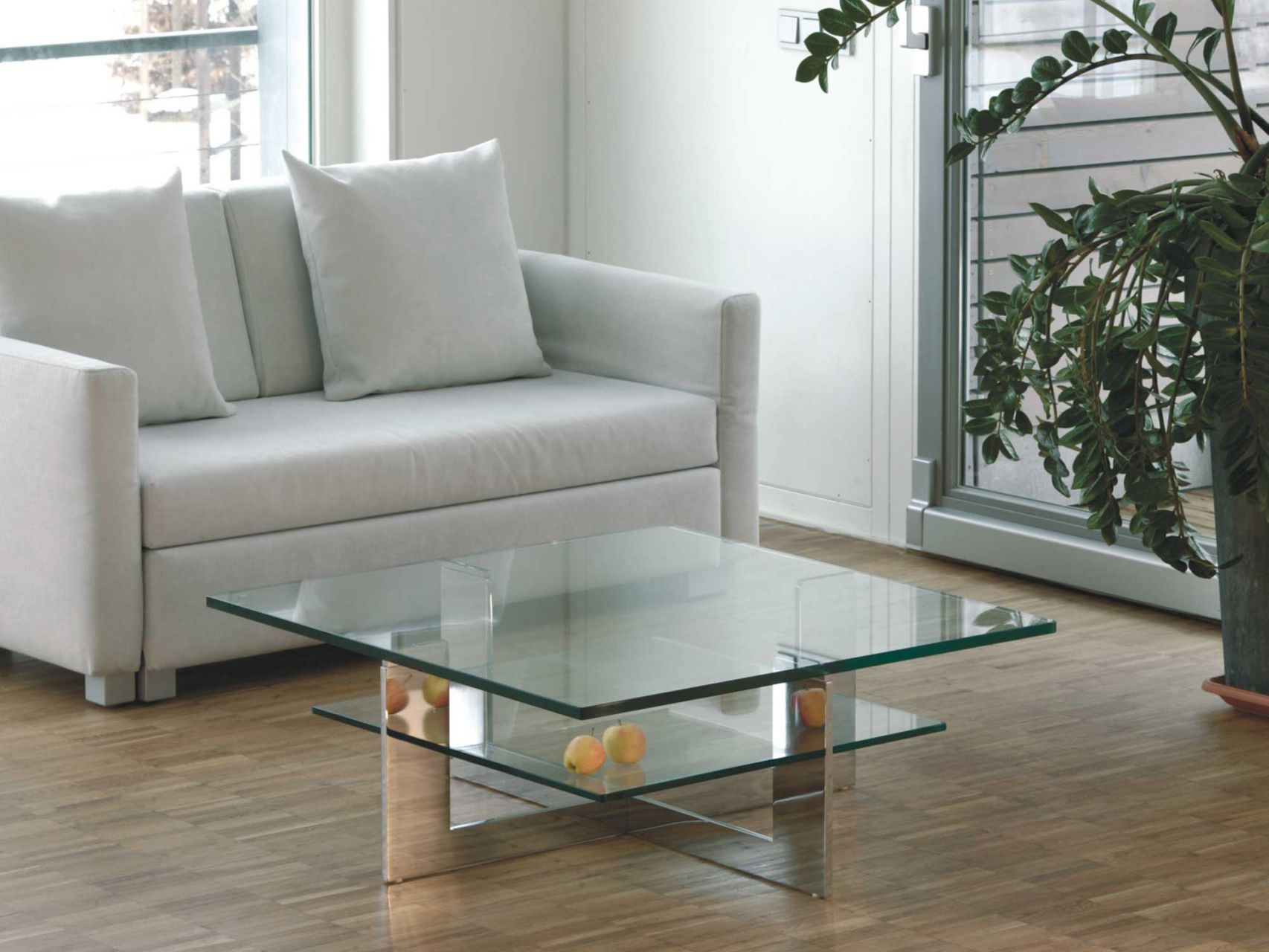 Symmetrical glass table by K. Steinkraus