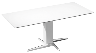 Table with extension and glass plate, wood panel or solid wood panel