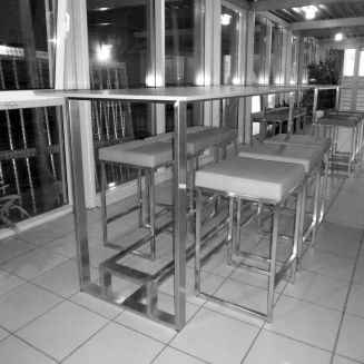 Table with bar stools