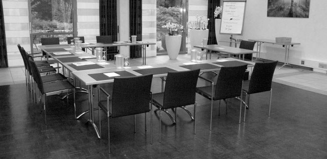 Table of rectangular tables with chairs
